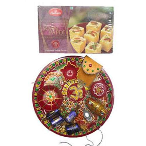 Om Puja Thali with 1 Kg Soanpapdi - Australia Delivery Only