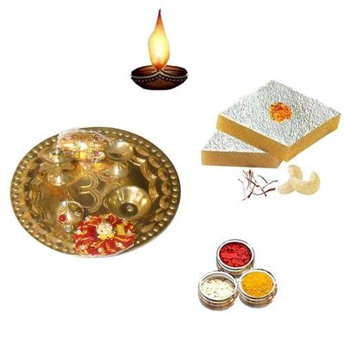Brass Pooja Thali with Kaju Katli - 11065 - USA Delivery Only