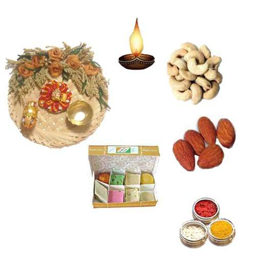 Cane Thali With Sweets & Dry Fruits - 11073 - USA Delivery Only