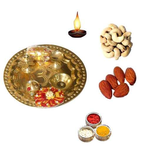 Brass Pooja Thali With Dry Fruits - 11068 - Canada Delivery