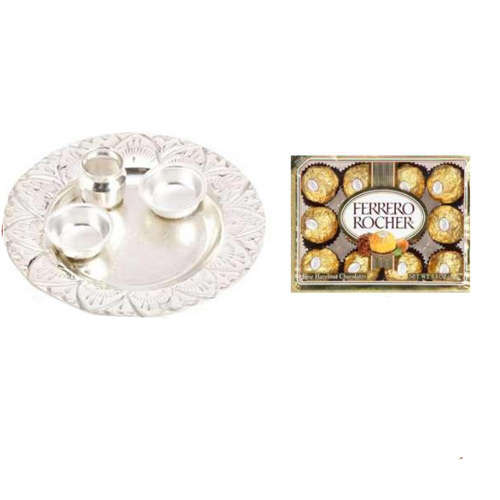 German Silver Thali & Ferroro Rochers - 11059 - UK Delivery