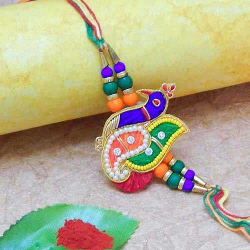 Peacock Beautiful & Rich Zardosi Rakhi - USA Delivery Only