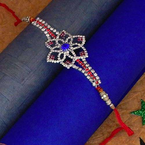 Diamond Stone Flower Shape Stone Work Rakhi - UK Delivery Only