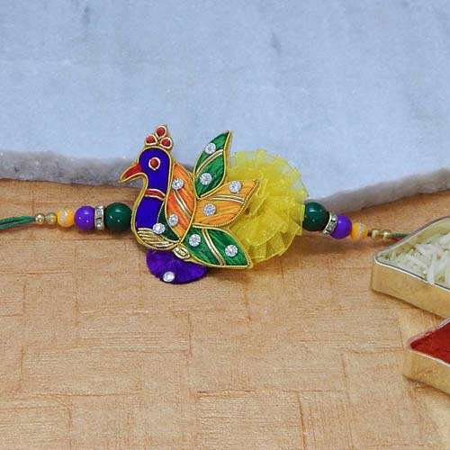 Enamelled Peacock Rakhi - UK  Delivery Only