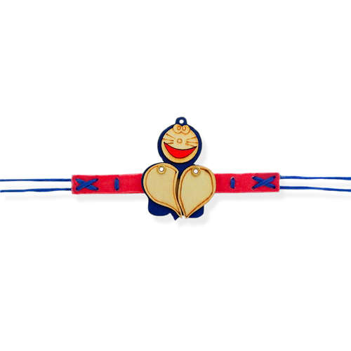 Smiling Doraemon Bracelate Rakhi - USA Delivery Only