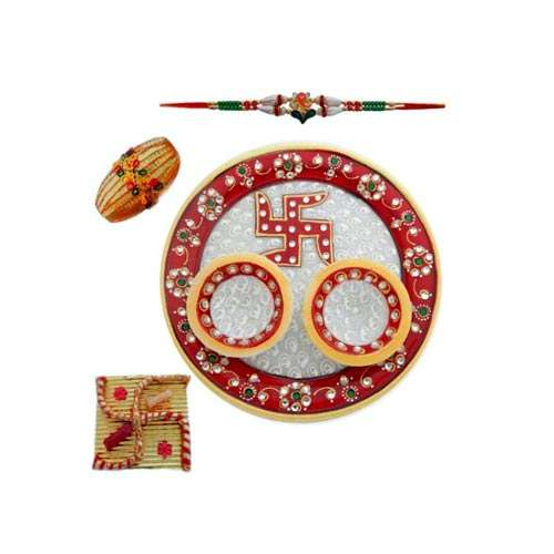Swastika Marble Puja Thali - USA Delivery Only