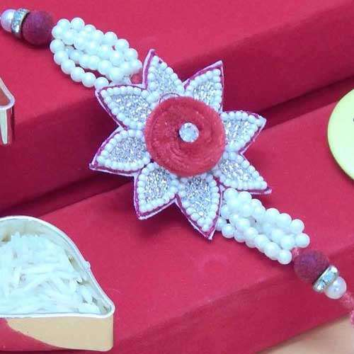 Flower Rakhi Embeded With Pearls & Beads - Add On