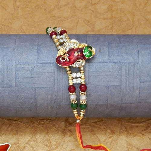 Lord Ganesha With Trunk Rakhi - CANADA Delivery Only