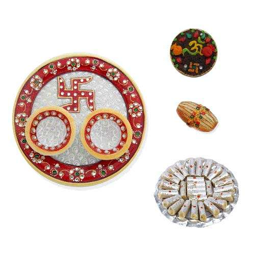 Swastik Marble Thali With Kaju Rolls 350 Gms. - USA Delivery Onl
