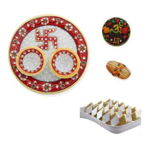Swastik Marble Thali With Kaju Barfi 350 Gms. - CANADA Delivery