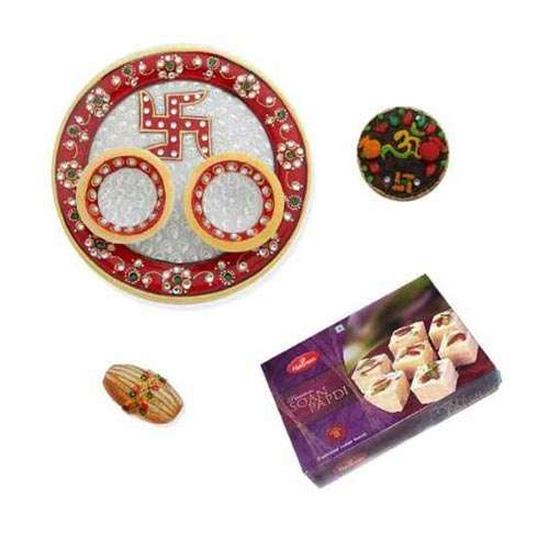 Swastik Marble Thali With Soan Papdi 500 Gms. - UK Delivery Only