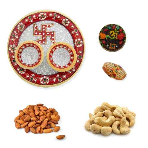 Swastik Marbel Thali With Dry Fruits 400 Gms. - USA Only