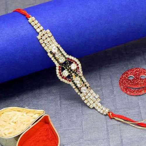 Lustrous Diamond Rakhi - USA Delivery Only