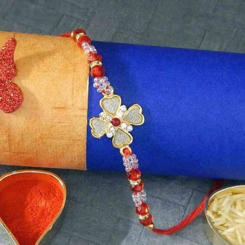Floral Blue Rakhi Thread - AUSTRALIA Delivery Only