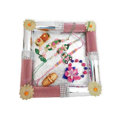 Square Fancy Rakhi Tray - 19 - USA Delivery Only