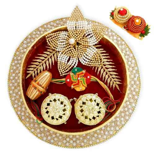 Round Plastic Fancy Pooja Thali - 07 - USA Delivery Only