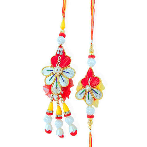 Floral Exotic Rakhi Lumba Set -  UK Delivery Only