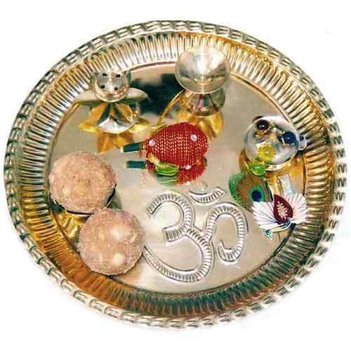 Brass Puja Thali with Laddoo