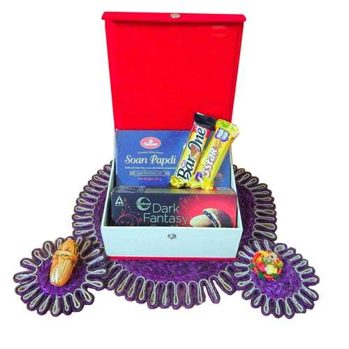 Auspicious Jeweled Chocolate Rakhi Box - Australia Delivery Only