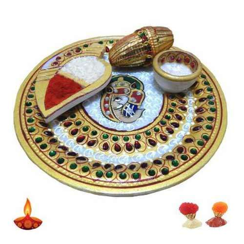 Lord Ganesh Marble Puja Thali - UK  Delivery Only
