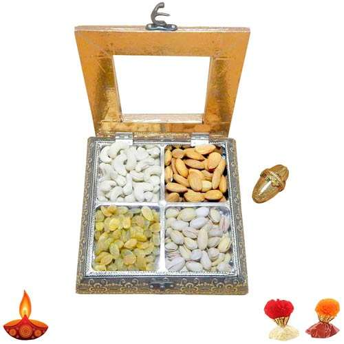 White Metal Dry Fruits Box - Australia  Delivery Only