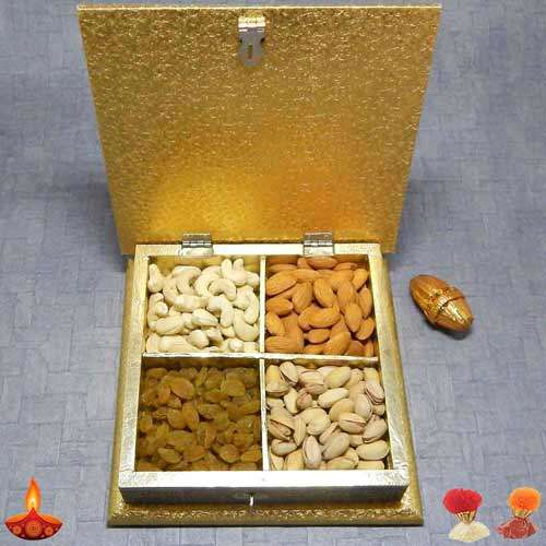 Square White Metal Box With Dryfruits - UK Delivery Only