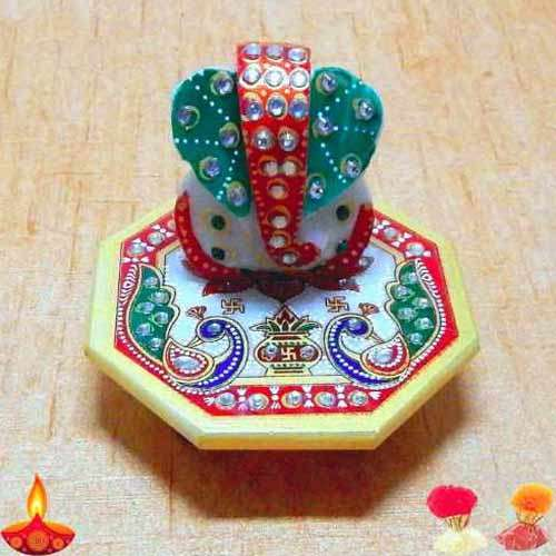 Meenakari Lord Ganesh On Marbel Chowki - USA Delivery Only