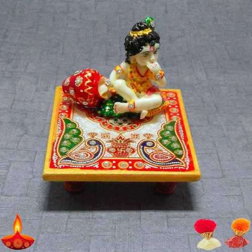 Lord Krishna Eating Maakhan On Marble Chowki - Canada Delivery