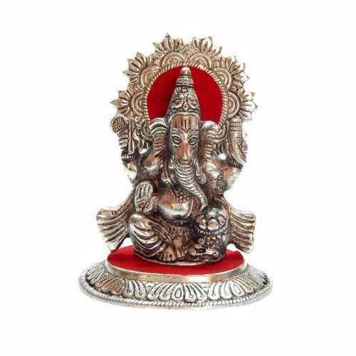 White Metal lord Ganeshji - ak-510348 - Canada Delivery Only