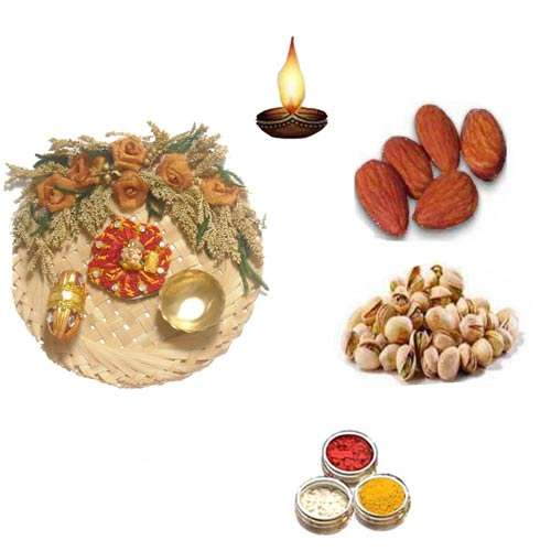 Cane Pooja Thali With Dry Fruits - 11074 - Singapore Delivery