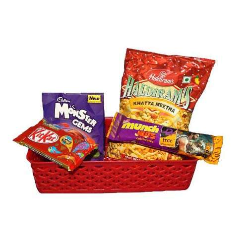 Basket With Chocolates & Namkeen - USA Delivery Only