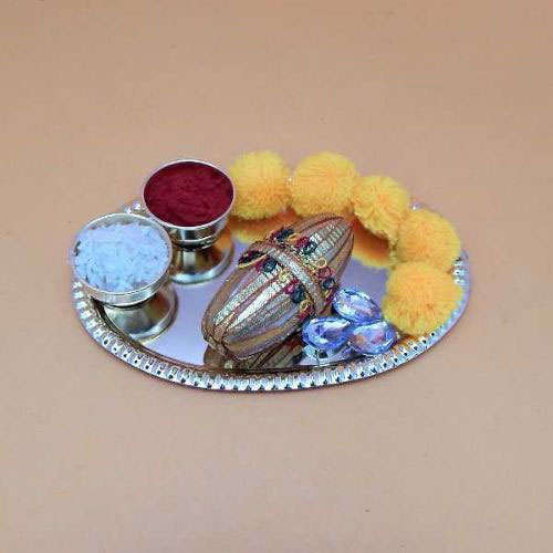 Small Puja Thali With Flowers - CANADA Delivery Only