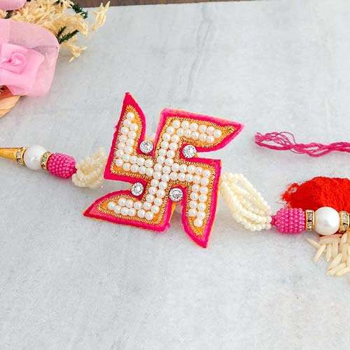 Swastik Pearl Rakhi - USA Delivery Only