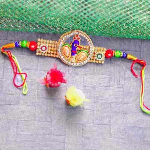 Divine Peacock Rakhi - USA Delivery Only