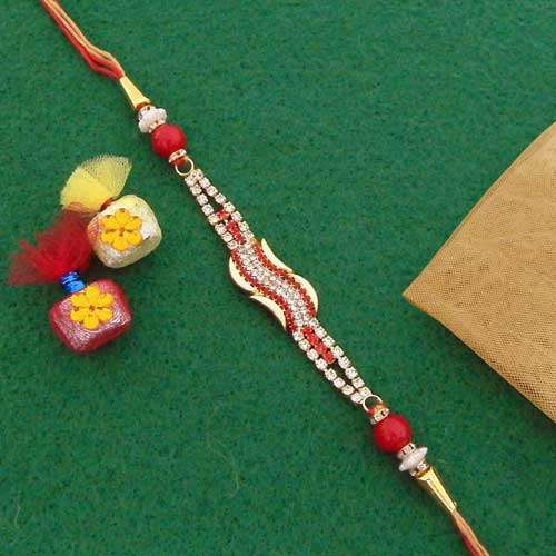 Beauteous AD Stones Rakhi - UK Delivery Only