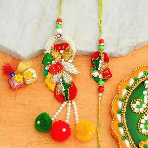 A Fancy Rakhi Lumba Set - - USA Delivery Only