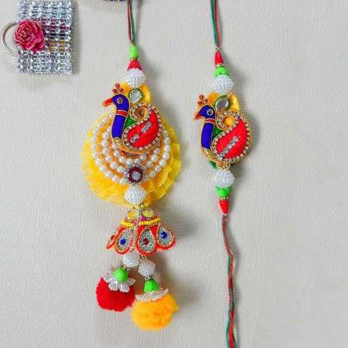 Divine Peacock Rakhi Lumba Set - USA Delivery Only