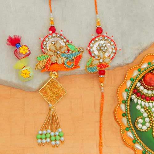 Graceful Rakhi Lumba Set - 2 - USA Delivery Only