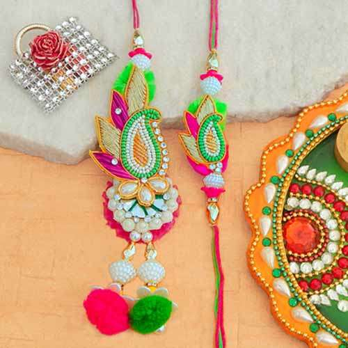 Charming Rakhi Lumba Set - CANADA Delivery Only