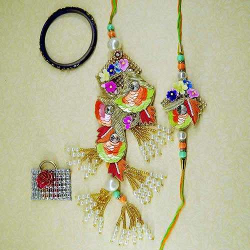 Beauteous Rakhi Lumba Set - CANADA Delivery Only