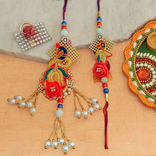 An Appealing Rakhi Lumba Set - Australia Delivery Only
