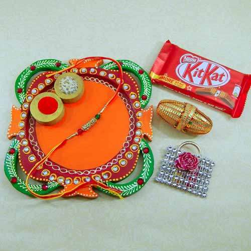 Multi Colored Rakhi Thali - USA Delivery Only