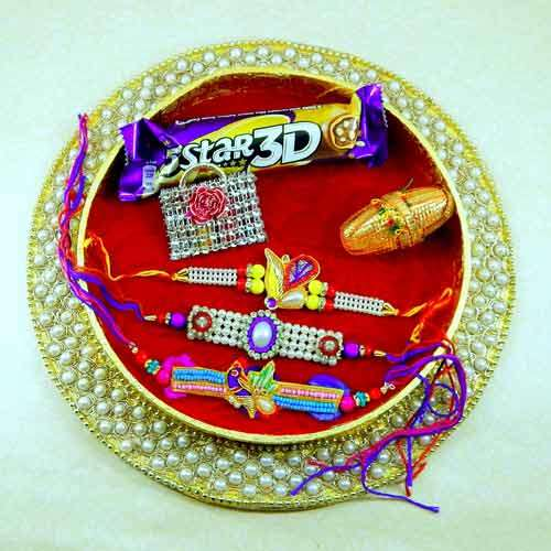 Embedded With Motifs Rakhi Puja Thali - USA Delivery Only
