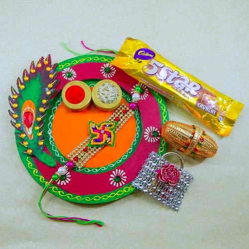 Exclusive Feather Wooden Thali - Australia Delivery Only