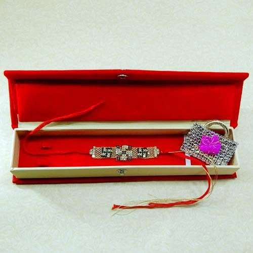 Exceptional Swastik Rakhi With Rakhi Gift Box - Canada Delivery