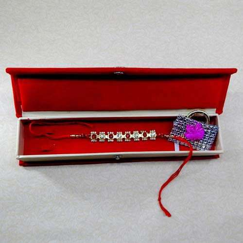 Pretty Crystal Rakhi With Rakhi Gift Box - Canada Delivery Only