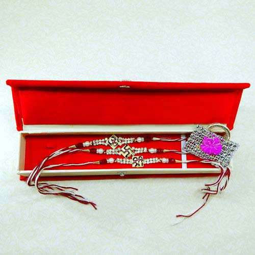 Rakhi Set - 03 With Rakhi Gift Box - UK Delivery Only