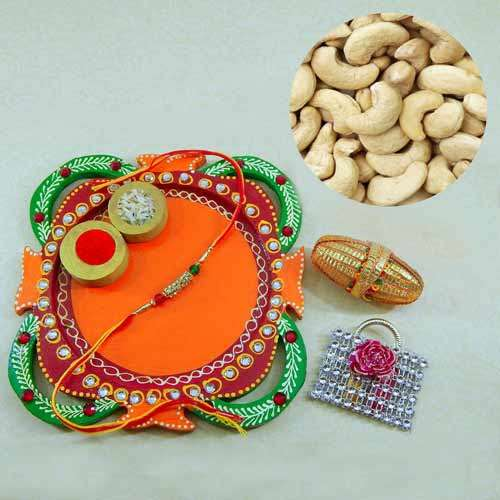 Multi Colored Rakhi Thali with Cashews 200 grm. - CANADA Only