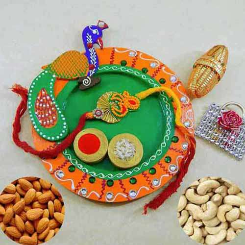Peacock Wooden Puja Thali with Almond & Cashews - UK Delivery