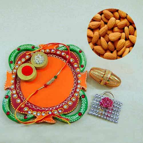 Multi Colored Rakhi Thali with Almonds  200 grm. - AUS Only